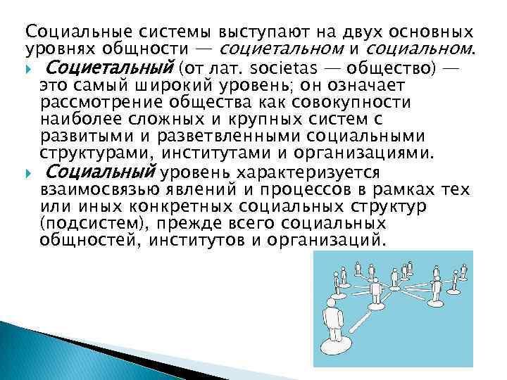 Социальные системы выступают на двух основных уровнях общности — социетальном и социальном. Социетальный (от