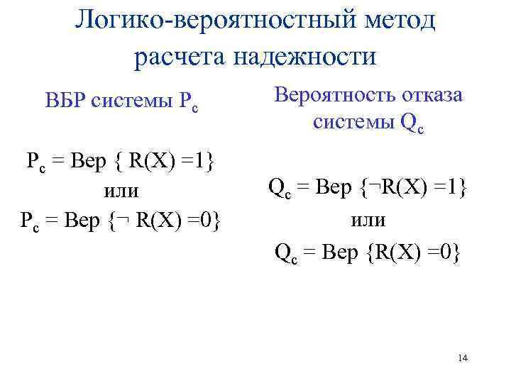 Логико-вероятностный метод расчета надежности ВБР системы Рс Рс = Вер { R(X) =1} или