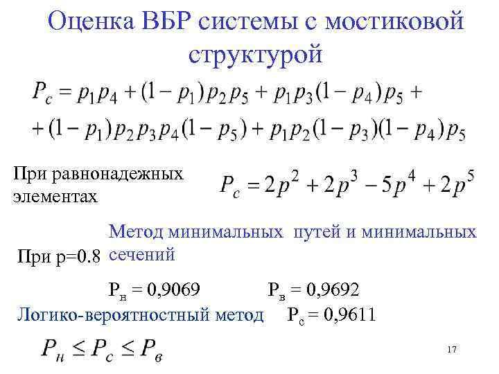 Оценка ВБР системы с мостиковой структурой При равнонадежных элементах Метод минимальных путей и минимальных