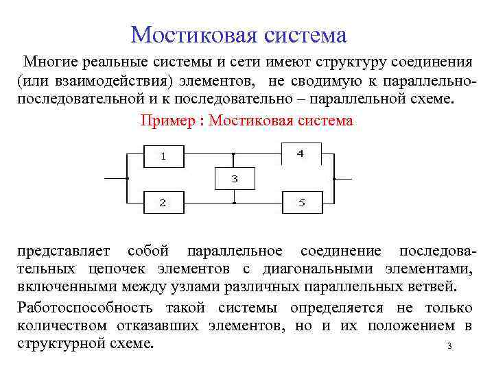 Мостиковая система Многие реальные системы и сети имеют структуру соединения (или взаимодействия) элементов, не