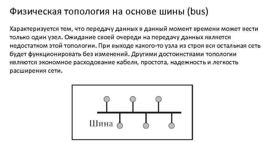 Физическая топология на основе шины (bus) Характеризуется тем, что передачу данных в данный момент