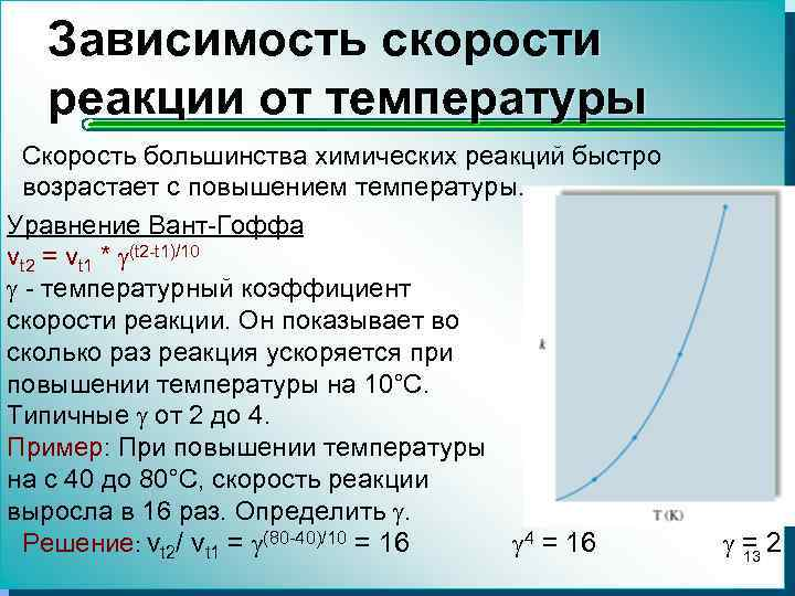 Зависимость скорости реакции от температуры Скорость большинства химических реакций быстро возрастает с повышением температуры.