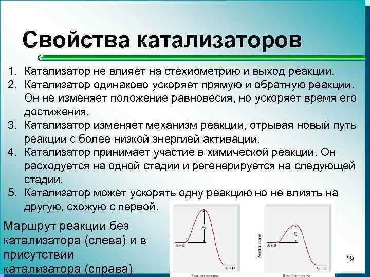 Свойства катализаторов 1. Катализатор не влияет на стехиометрию и выход реакции. 2. Катализатор одинаково