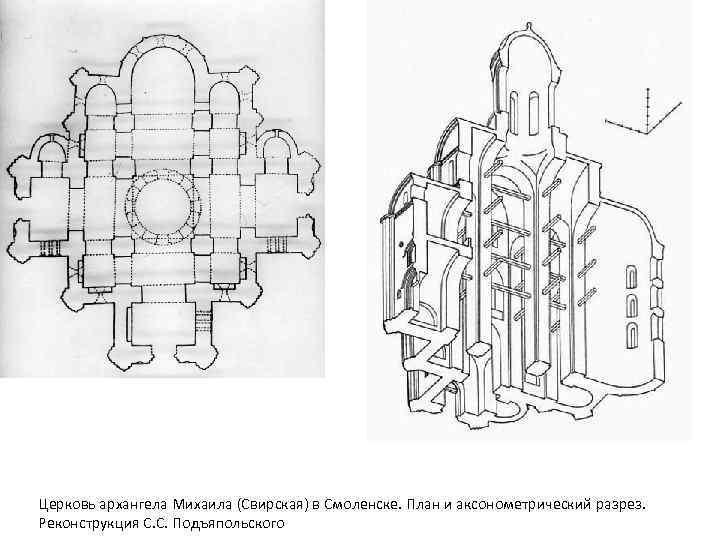 Церковь архангела Михаила (Свирская) в Смоленске. План и аксонометрический разрез. Реконструкция С. С. Подъяпольского