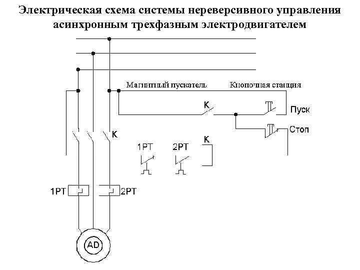 Электрическая схема системы нереверсивного управления асинхронным трехфазным электродвигателем