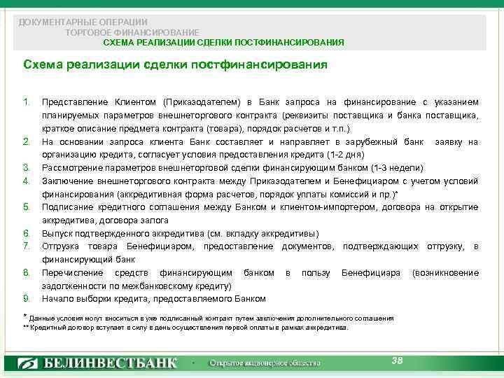 ДОКУМЕНТАРНЫЕ ОПЕРАЦИИ ТОРГОВОЕ ФИНАНСИРОВАНИЕ СХЕМА РЕАЛИЗАЦИИ СДЕЛКИ ПОСТФИНАНСИРОВАНИЯ Схема реализации сделки постфинансирования 1. 2.