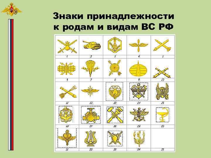 Знаки принадлежности к родам и видам ВС РФ
