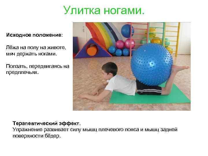 Улитка ногами. Исходное положение: Лёжа на полу на животе, мяч держать ногами. Ползать, передвигаясь
