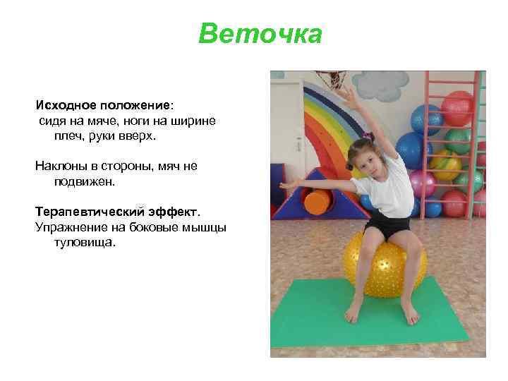 Веточка Исходное положение: сидя на мяче, ноги на ширине плеч, руки вверх. Наклоны в