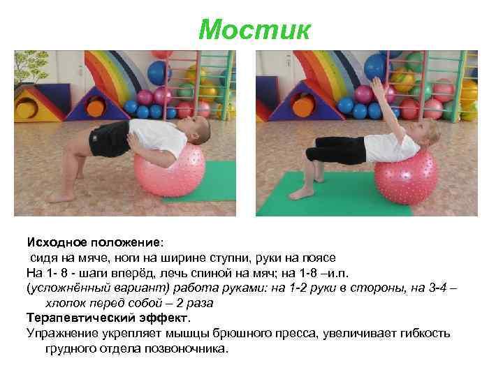 Мостик Исходное положение: сидя на мяче, ноги на ширине ступни, руки на поясе На