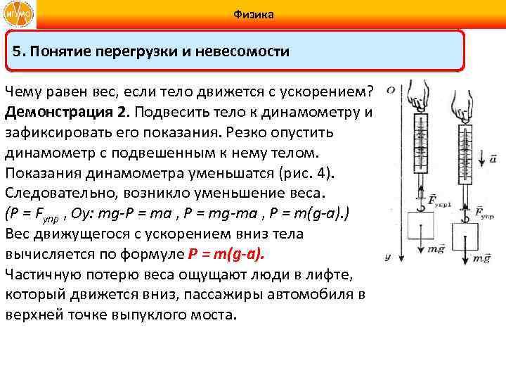 Физика 5. Понятие перегрузки и невесомости Чему равен вес, если тело движется с ускорением?