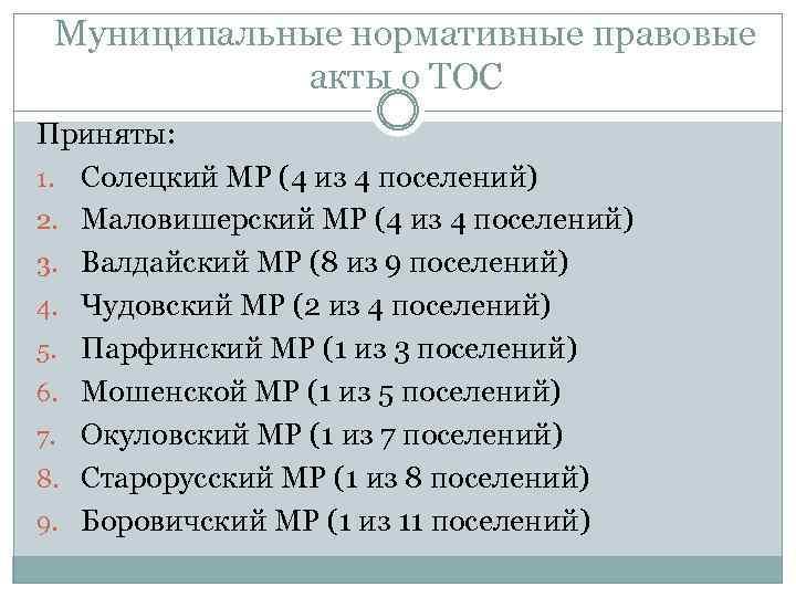 Муниципальные нормативные правовые акты о ТОС Приняты: 1. Солецкий МР (4 из 4 поселений)