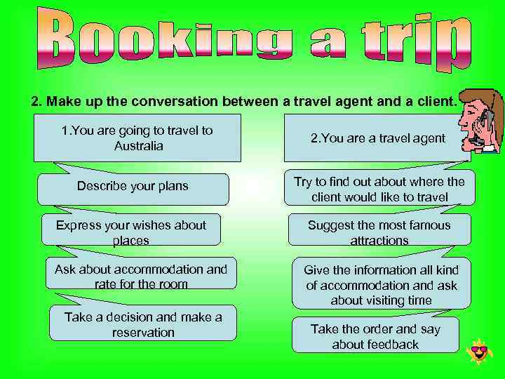 2. Make up the conversation between a travel agent and a client. 1. You