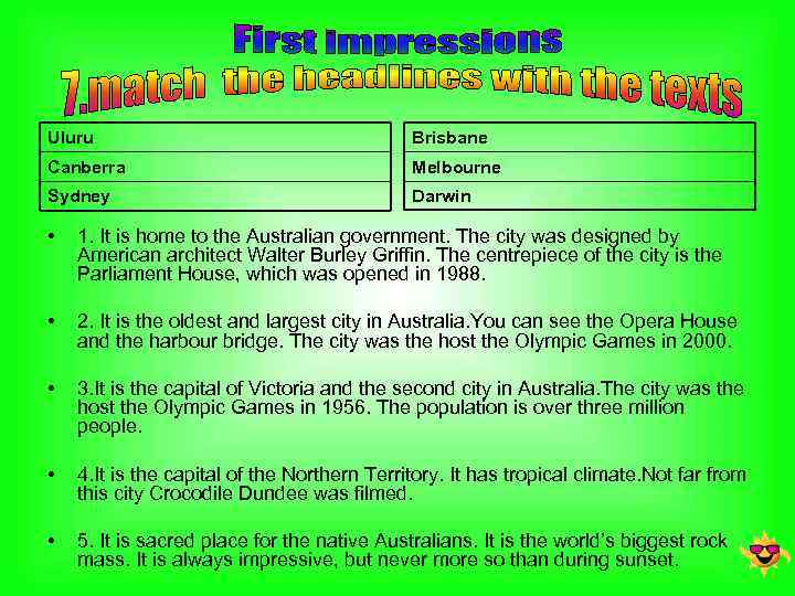 Uluru Brisbane Canberra Melbourne Sydney Darwin • 1. It is home to the Australian
