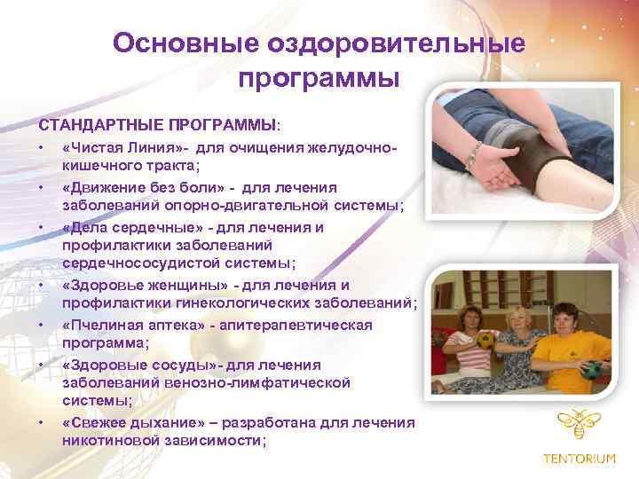 Основные оздоровительные программы СТАНДАРТНЫЕ ПРОГРАММЫ: • «Чистая Линия» - для очищения желудочно • •