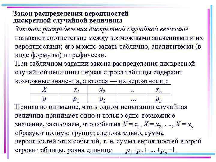 Закон распределения вероятностей дискретной случайной величины Законом распределения дискретной случайной величины называют соответствие между