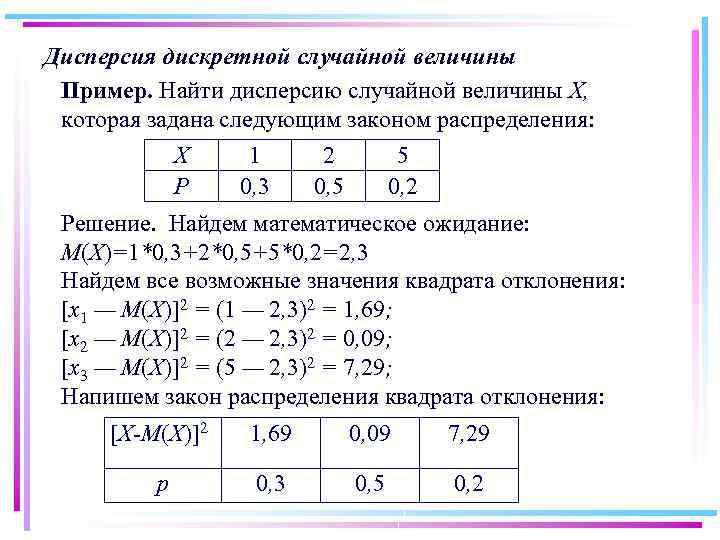 Дисперсия дискретной случайной величины Пример. Найти дисперсию случайной величины X, которая задана следующим законом