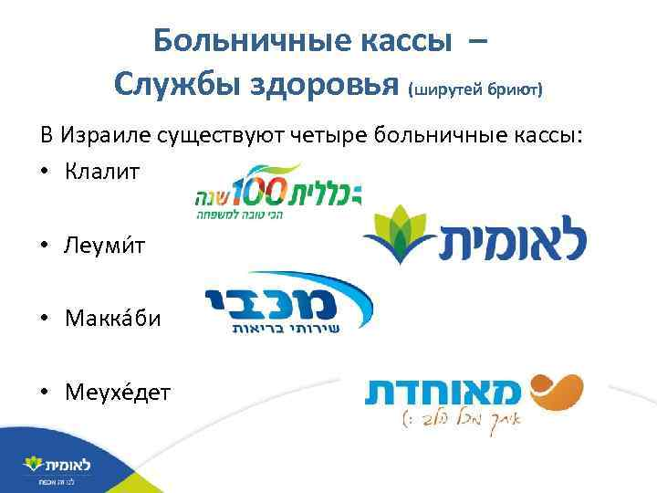 Больничные кассы – Службы здоровья (ширутей бриют) В Израиле существуют четыре больничные кассы: •