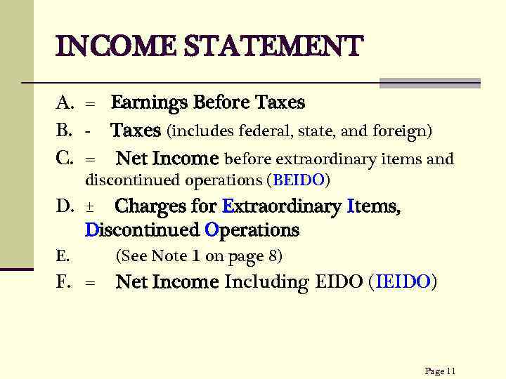 INCOME STATEMENT A. = Earnings Before Taxes B. - Taxes (includes federal, state, and