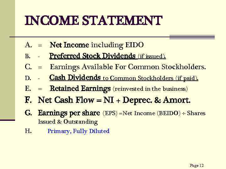 INCOME STATEMENT A. = Net Income including EIDO B. Preferred Stock Dividends (if issued).