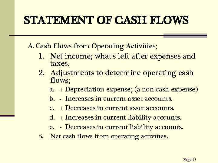 STATEMENT OF CASH FLOWS A. Cash Flows from Operating Activities; 1. Net income; what's