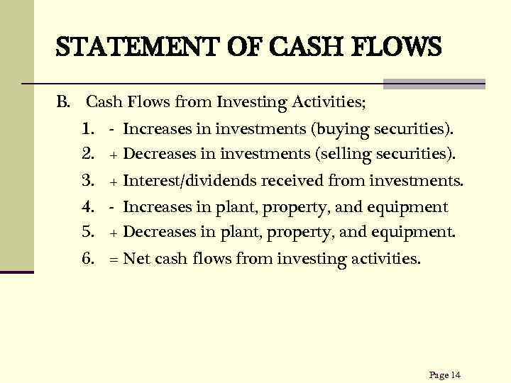 STATEMENT OF CASH FLOWS B. Cash Flows from Investing Activities; 1. - Increases in