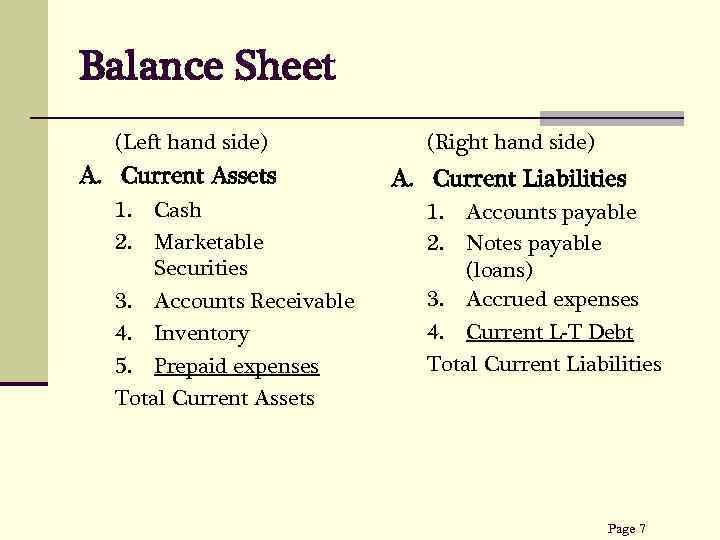Balance Sheet (Left hand side) A. Current Assets 1. 2. Cash Marketable Securities 3.