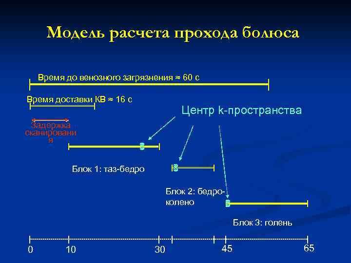 Модель расчета прохода болюса Время до венозного загрязнения ≈ 60 с Время доставки КВ