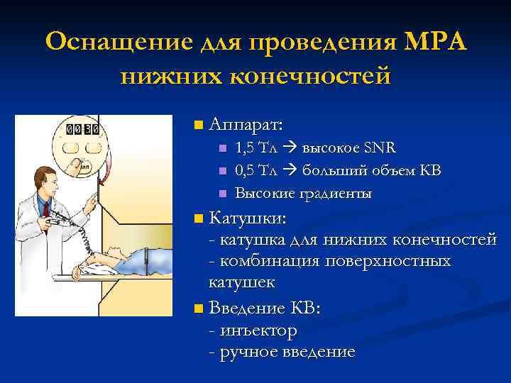 Оснащение для проведения МРА нижних конечностей n Аппарат: n n n 1, 5 Тл