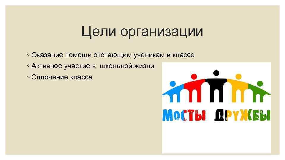 Цели организации ◦ Оказание помощи отстающим ученикам в классе ◦ Активное участие в школьной