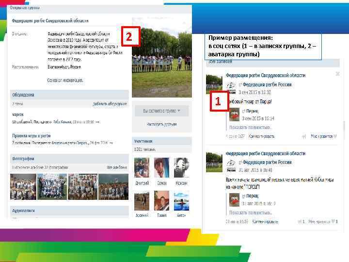 2 Пример размещения: в соц сетях (1 – в записях группы, 2 – аватарка