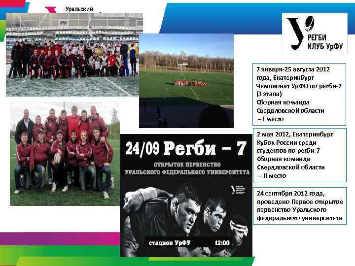 7 января-25 августа 2012 года, Екатеринбург Чемпионат Ур. ФО по регби-7 (3 этапа) Сборная