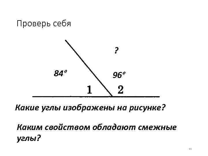 Проверь себя ? 84º 96º Какие углы изображены на рисунке? Каким свойством обладают смежные