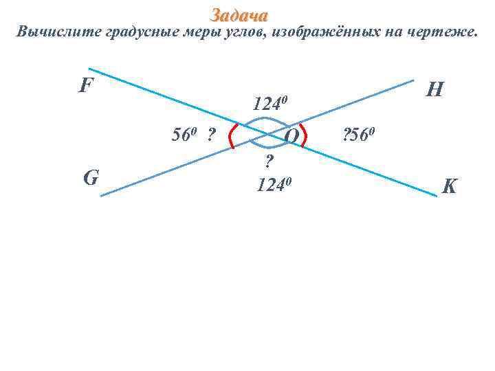 Задача Вычислите градусные меры углов, изображённых на чертеже. F 560 ? G H 1240