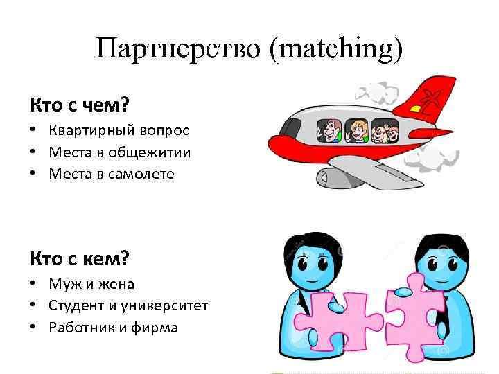 Партнерство (matching) Кто с чем? • Квартирный вопрос • Места в общежитии • Места
