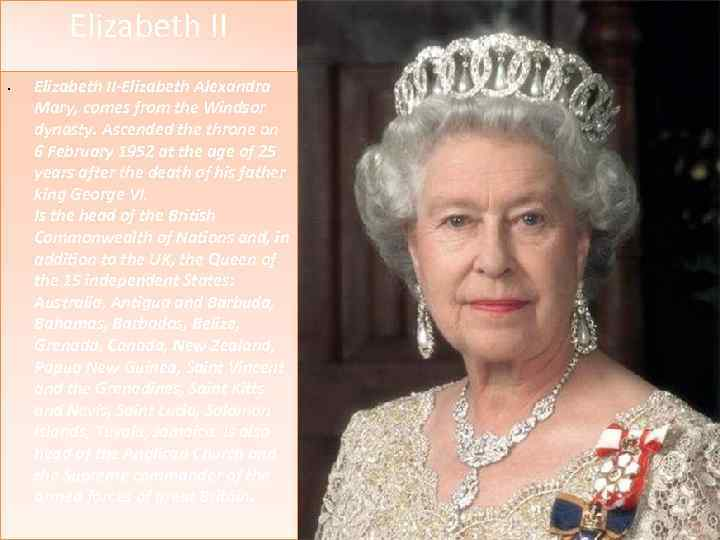 Elizabeth II • Elizabeth II-Elizabeth Alexandra Mary, comes from the Windsor Для правки структуры