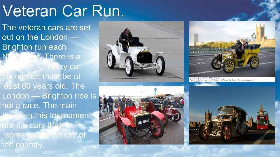 Veteran Car Run. The veteran cars are set out on the London — Brighton