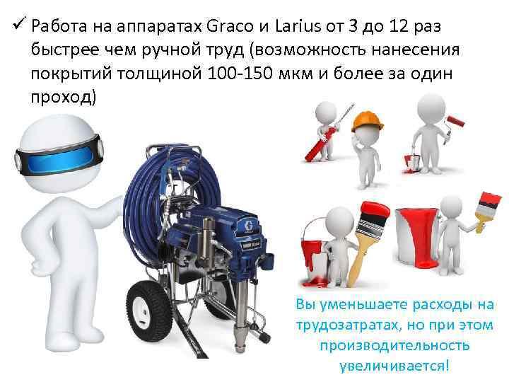ü Работа на аппаратах Graco и Larius от 3 до 12 раз быстрее чем
