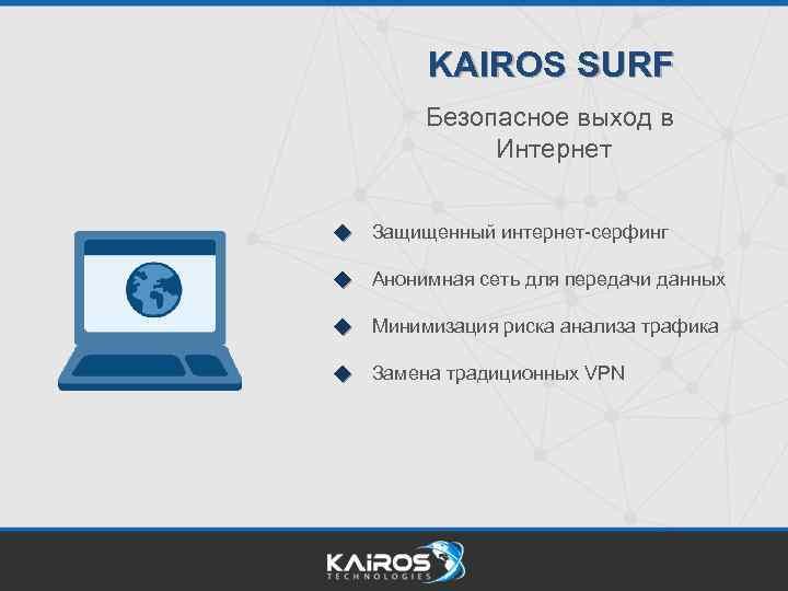KAIROS SURF Безопасное выход в Интернет Защищенный интернет-серфинг Анонимная сеть для передачи данных Минимизация