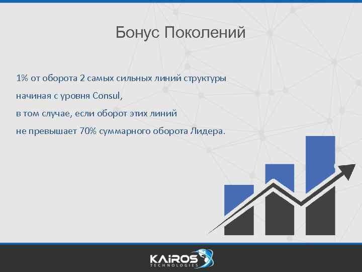 Бонус Поколений 1% от оборота 2 самых сильных линий структуры начиная с уровня Consul,