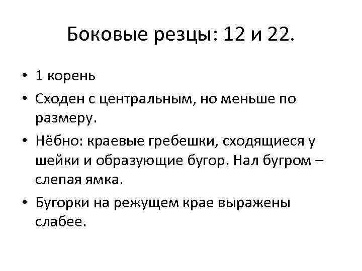 Боковые резцы: 12 и 22. • 1 корень • Сходен с центральным, но меньше