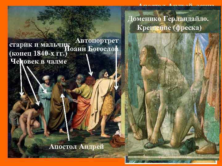 Апостол Андрей, эскиз (конец 1830 -х гг. ) Доменико Герландайло. путник (конец 1840 -х