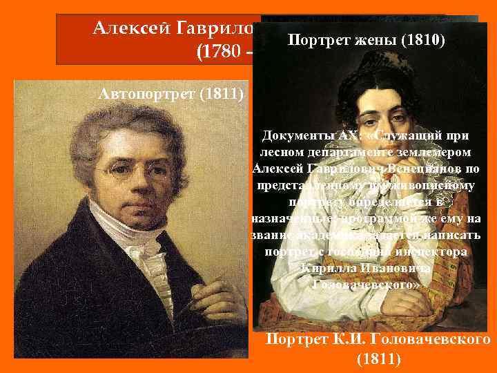 Алексей Гаврилович Венецианов Портрет жены (1810) (1780 – 1847) Автопортрет (1811) Документы АХ: «Служащий