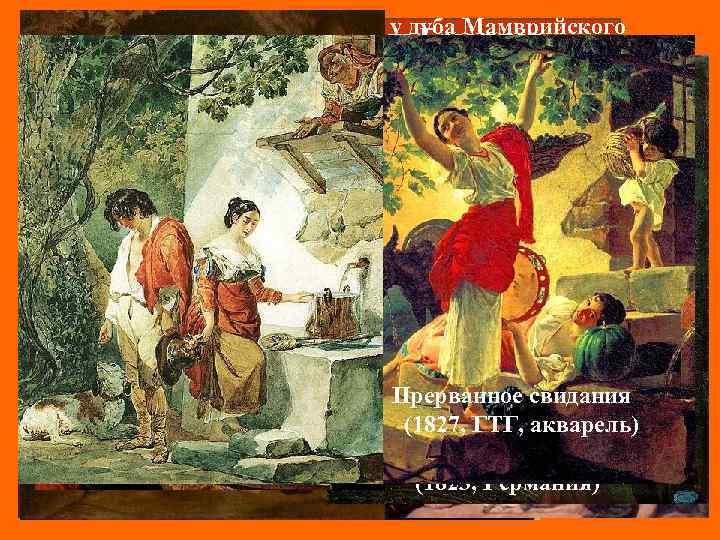 Явление Аврааму трех ангелов у дуба Мамврийского Карл Павлович Брюллов (1821, ГРМ) (1799 –