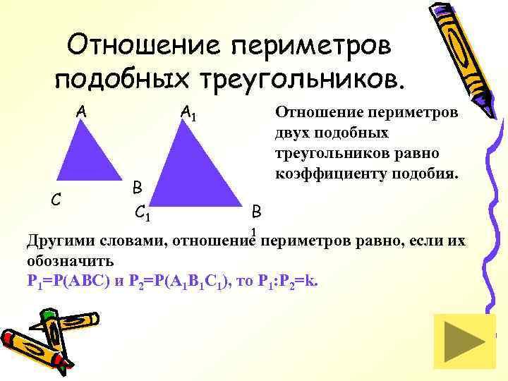 Отношение периметров подобных треугольников. A C A 1 B C 1 Отношение периметров двух