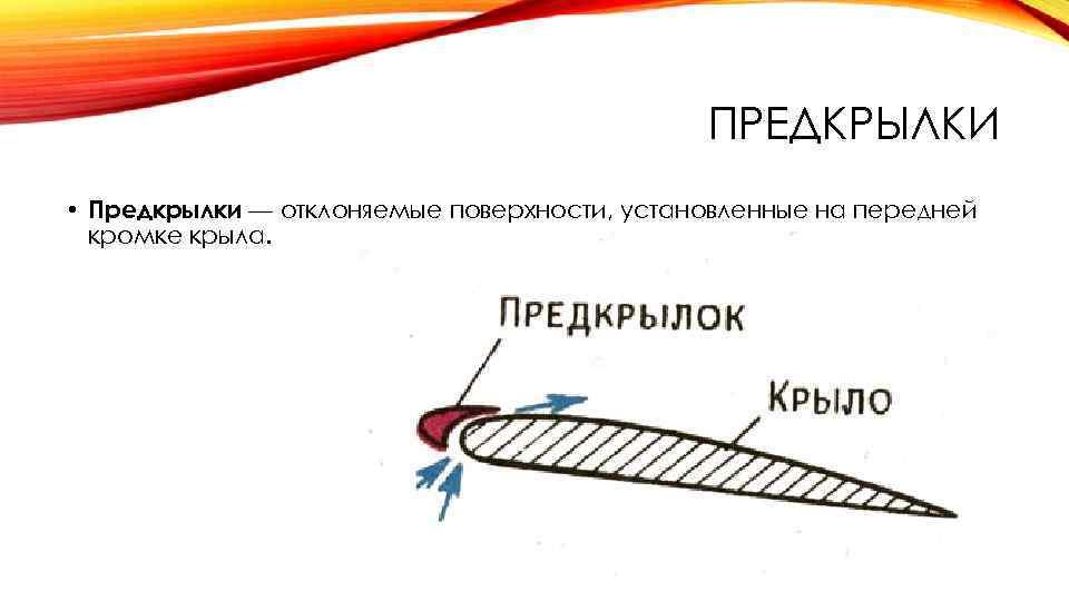 ПРЕДКРЫЛКИ • Предкрылки — отклоняемые поверхности, установленные на передней кромке крыла.