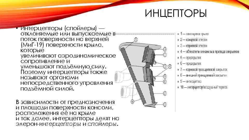 ИНЦЕПТОРЫ • Интерцепторы (спойлеры) — отклоняемые или выпускаемые в поток поверхности на верхней (Ми.