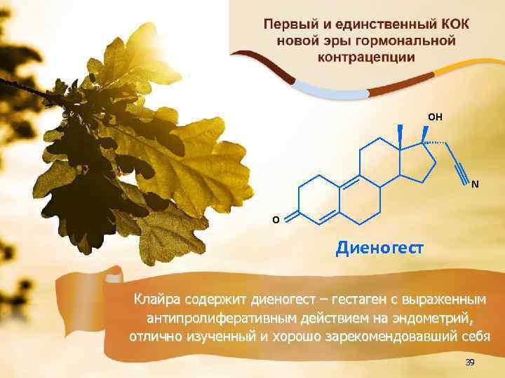 OH N O Диеногест Клайра содержит диеногест – гестаген с выраженным антипролиферативным действием на