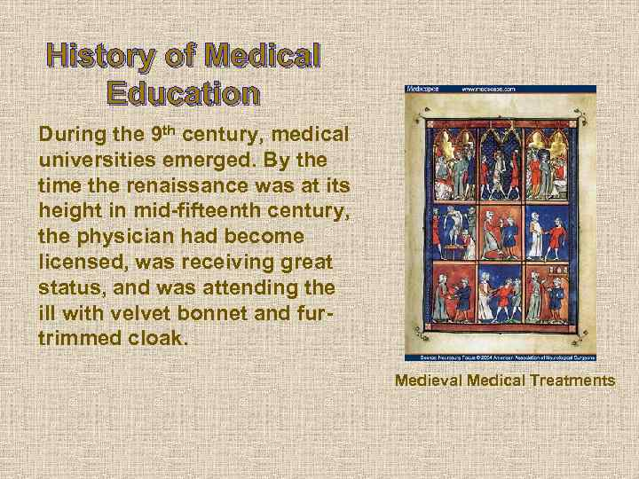 History of Medical Education During the 9 th century, medical universities emerged. By the