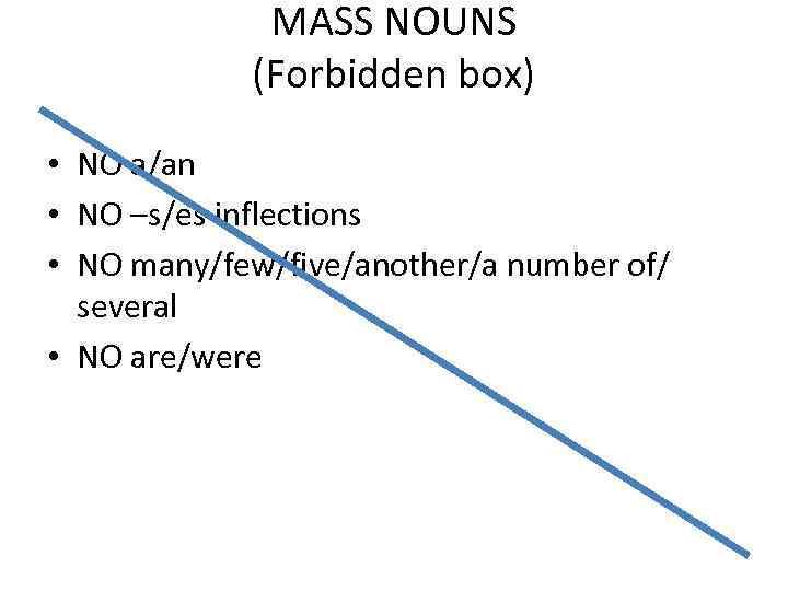 MASS NOUNS (Forbidden box) • NO a/an • NO –s/es inflections • NO many/few/five/another/a